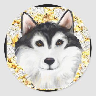Million de Malamute d'Alaska du dollar Sticker Rond