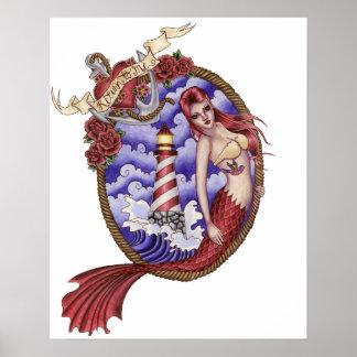 Mina - affiche de sirène de tatouage posters