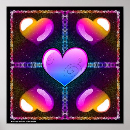 Mini affiche de coeurs brillants