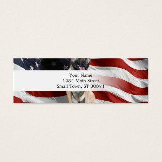 Mini Carte De Visite Berger allemand Etats-Unis - chien patriotique -