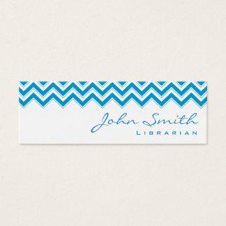 Mini carte de visite bleu de bibliothécaire de
