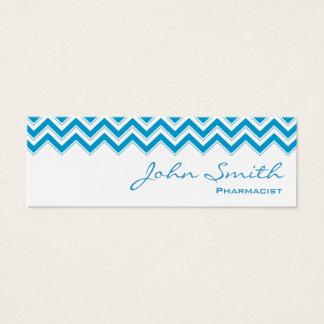 Mini carte de visite bleu de pharmacien de zigzag