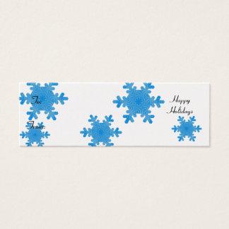 Mini Carte De Visite Bonnes fêtes, flocons de neige bleus