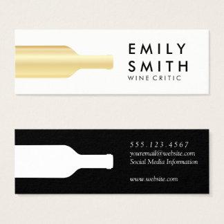 Mini Carte De Visite Bouteille de vin blanc élégante d'or