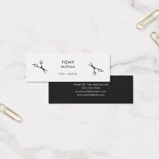 Mini Carte De Visite Coiffeur blanc noir élégant minimaliste