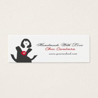 Mini Carte De Visite Coiffeur simple noir de robe de maquilleur