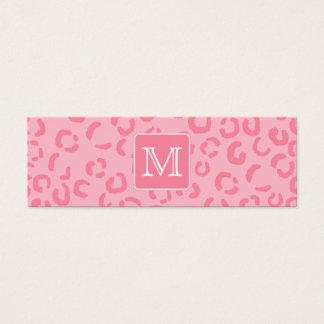 Mini Carte De Visite Empreinte de léopard de rose en pastel. Monogramme