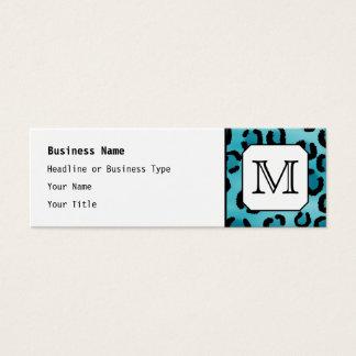 Mini Carte De Visite Empreinte de léopard turquoise, monogramme fait