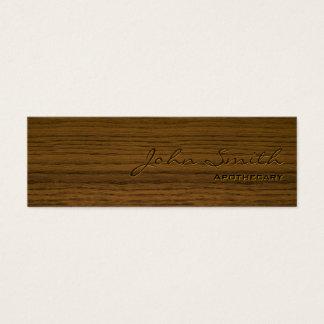 Mini carte de visite en bois foncé d'apothicaire