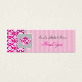 Mini Carte De Visite Étiquette de Merci de pot de thé (rose/gris)