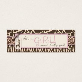 Mini Carte De Visite Étiquette maigre de cadeau de fille de safari