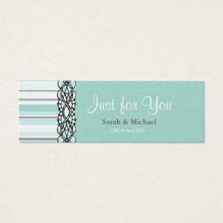 Mini Carte De Visite Étiquette rayée bleue et blanche de cadeau de