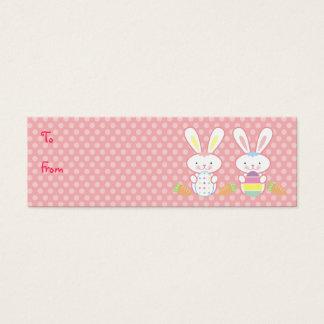 Mini Carte De Visite Étiquettes de cadeau de lapins de Pâques