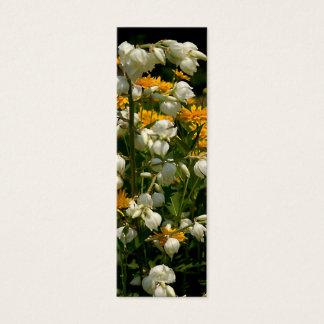 Mini Carte De Visite Jaune et blanc fleuris - marqueur de livre