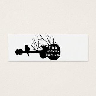 Mini Carte De Visite la guitare, ceci est où mon coeur vit
