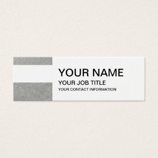 Mini Carte De Visite Le blanc élégant barre l'aluminium argenté imprimé