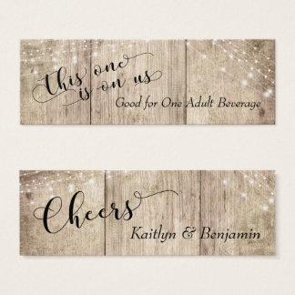 Mini Carte De Visite Le bois pâle rustique de Brown avec la boisson de