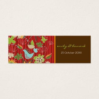 Mini Carte De Visite Merci de profil de jardin/étiquette floraux rouges