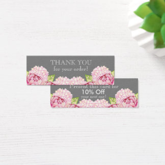 Mini Carte De Visite Merci mince floral de Watecolor avec la remise