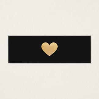 Mini Carte De Visite Mise en réseau simple de noir de coeur d'or