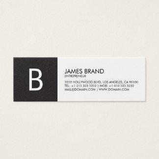 Mini Carte De Visite Monogramme noir et blanc professionnel