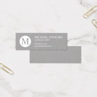 Mini Carte De Visite Monogramme professionnel gris et blanc