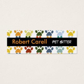 Mini Carte De Visite Pattes mignonnes et animal familier animal coloré