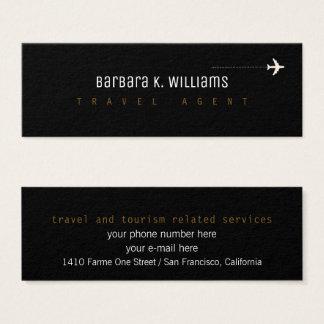 Mini Carte De Visite profilecard de noir d'agent de voyage avec l'avion