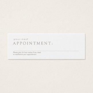 Mini Carte De Visite Rappel blanc professionnel simple de rendez-vous