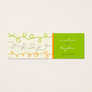 Mini Carte De Visite Rétro étiquette verte orange de cadeau de Merci