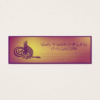 Mini Carte De Visite Signet de Quran avec le vers arabe