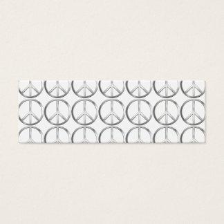 Mini Carte De Visite Symbole de paix argenté en métal