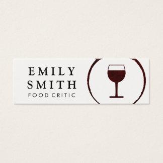 Mini Carte De Visite Tache élégante de vin rouge avec le verre de vin