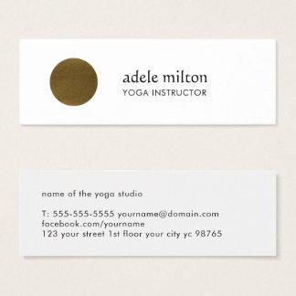Mini Carte De Visite Yoga blanc élégant minimaliste de cercle d'en