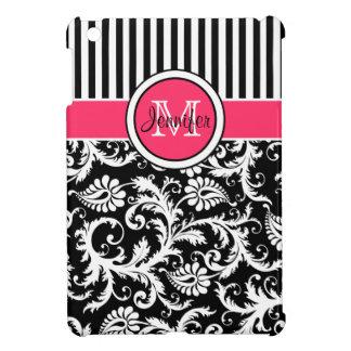 Mini cas d'iPad rayé rose, noir, blanc de damassé