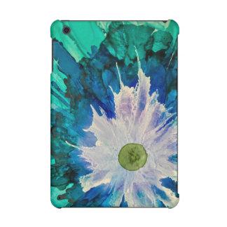 Mini couverture bleu d'iPad floral d'abrégé sur