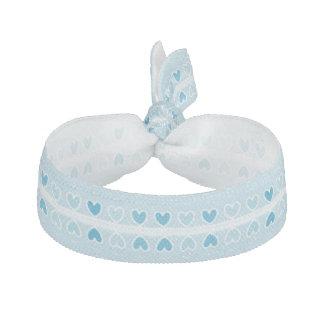 Mini élastique à cheveux bleu de coeurs