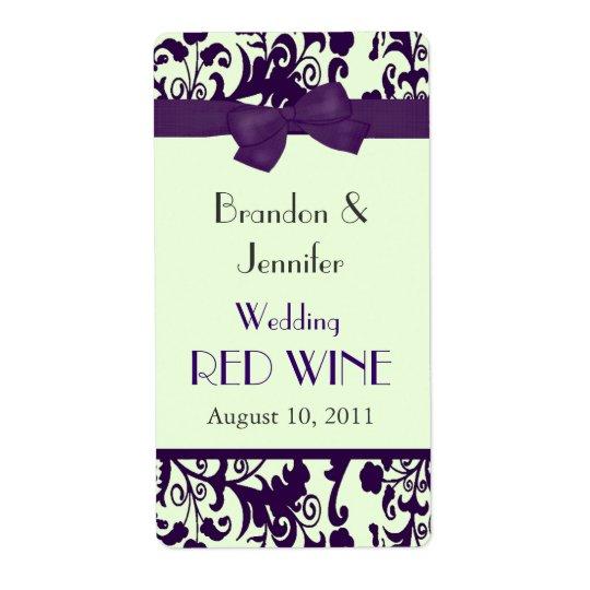 Mini étiquettes de vin de mariage pourpre et vert