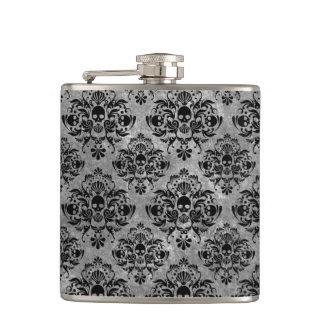 Mini gris fascinant de noir de motif de damassé de flasques