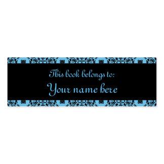 Mini marque-pages élégantes de damassé bleue et carte de visite petit format