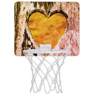 Mini-panier De Basket Bois découpé par coeur rustique