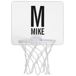 Mini-panier De Basket Monogramme et nom personnalisés modernes