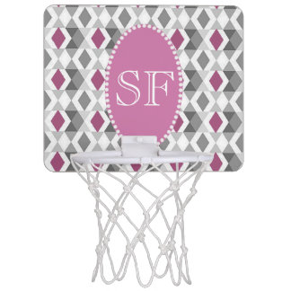 Mini-panier De Basket Monogramme rose/gris génial de diamant