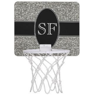 Mini-panier De Basket Parties scintillantes de Faux et monogramme noir