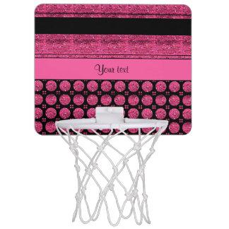 Mini-panier De Basket Rayures de roses indien et taches de scintillement