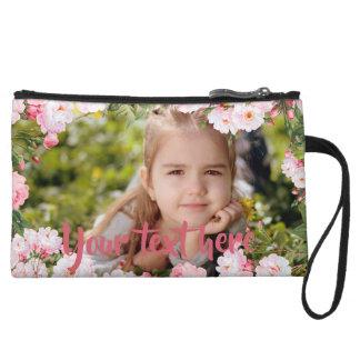 Mini-pochette Frontière rose faite sur commande de fleurs de