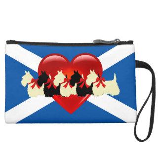 Mini-pochette Simili Daim Écossais Terrier, coeur rouge, drapeau de Saint