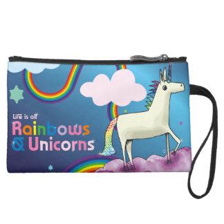 Mini-pochette Simili Daim La vie est tous les arcs-en-ciel et licornes