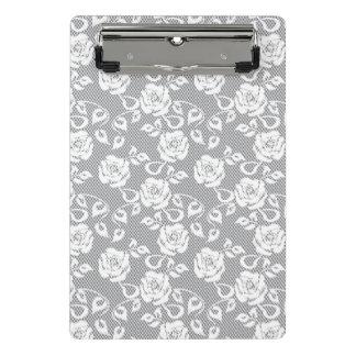 Mini Porte-bloc Motif blanc de dentelle sur l'arrière - plan gris