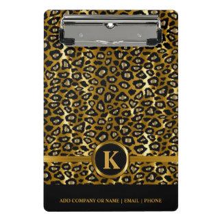 Mini Porte-bloc Or foncé de monogramme et motif noir de léopard